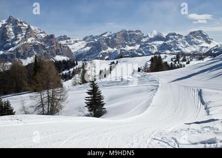 Skiing in Alta Badia, Italy - Stock Photo