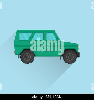 Car icon jeep. Army SUV of green color. The vehicle of the increased passability for travel, active recreation, hunting, a safari and the hard purpose - Stock Photo
