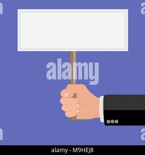 Realistic hand with clenched fist and plate ptotest. Flat design. Fist of revolution and protest. Agitation concept. Hand up. Vector design element - Stock Photo