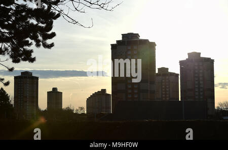 North Lanarkshire council vow to demolish all high rise flats in their council area   Pictured:  Motherwell Wednesday 20th December 2017. - Stock Photo