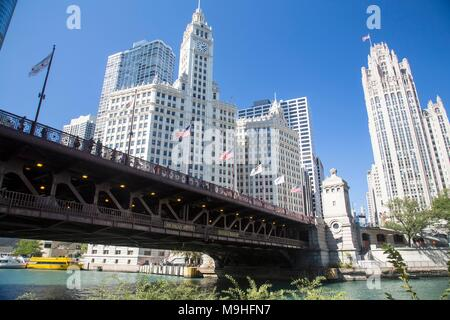 Chicago downtown and the Michigan Avenue Bridge (officially DuSable Bridge) - Stock Photo