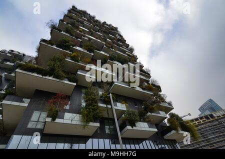 Milan, Italy 31 December 2017 at 12:30. Near the station of Porta Garibaldi, the business district of Milan, the vertical forest. - Stock Photo