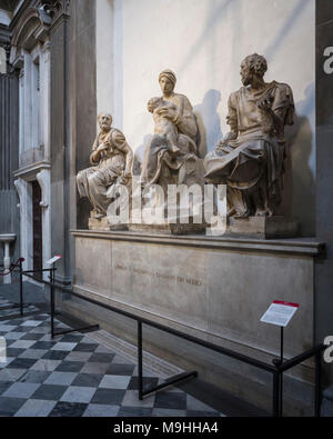 Florence. Italy. Tomb of Lorenzo the Magnificent and his brother Giuliano, by Michelangelo, in the New Sacristy, Cappelle Medicee (Medici Chapels). Ba - Stock Photo