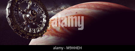 huge space station in orbit of planet Jupiter, spaceship mission (3d science fiction illustration banner, elements of this image are furnished by NASA - Stock Photo