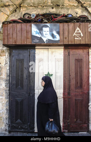 Poster bachar al Assad Palmire Syria 12/12/2015 - Stock Photo