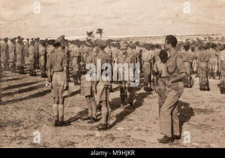 Field Marshal Bernard Law Montgomery nicknamed 'Monty' inspecting the troops in the Western Desert, North Africa, 1945. - Stock Photo