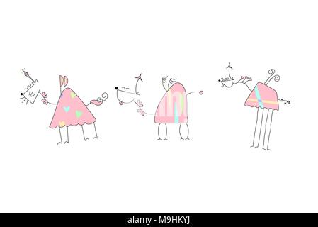 Herd of Pink Unicorns with wings and horn - Doodle Vector Illustration of a Hand Drawn Unicorn Sketch - Stock Photo