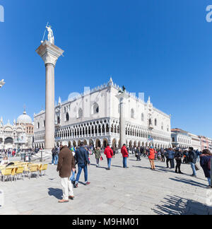 Ducal Palace, (Doges Palace, Palazzo Ducal), and Basilica San Marco (St Marks Basilica) Piazza San Marco, San Marco, Venice, Veneto,  Italy from Riva  - Stock Photo