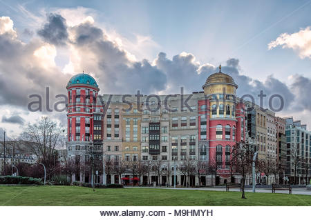 Classical and elegant architecture buildings with golden and green domes in Bilbao. Spain - Stock Photo