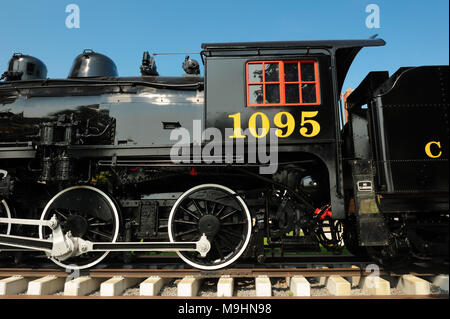 Engine 1095, a steam locomotive in service from 1913 to 1960, now  located at the Confederation Park in Kingston, Ontario, Canada. - Stock Photo