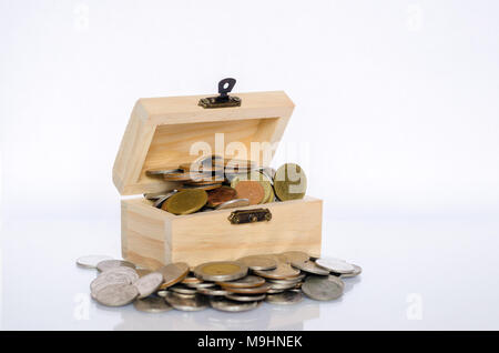 Inner lid with gold coin, white background Isolate The concept of treasure and value for money. - Stock Photo
