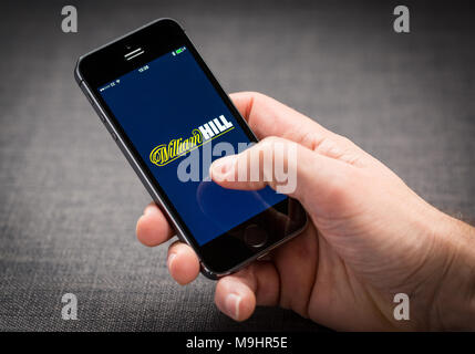 William Hill betting app on an iPhone - Stock Photo
