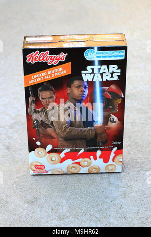 Kellogg's cereal box featuring Star Wars movie characters - Stock Photo