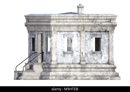 Old white stone building isolated on white, 3d render. - Stock Photo