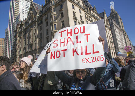 NYC, March 24, 2018: Students and many others demonstrated in the 'March For Our Lives' march all over the USA for an end to the slaughter of American students in schools and gun related deaths generally in the US. Nearly 200,000 marched in New York City. - Stock Photo