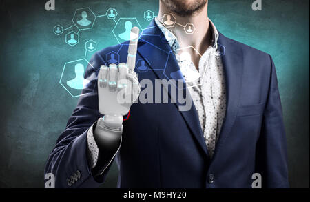 Businessman with robot hand touches icons. - Stock Photo