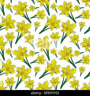 blooming yellow daffodils with green leaves, seamless pattern - Stock Photo