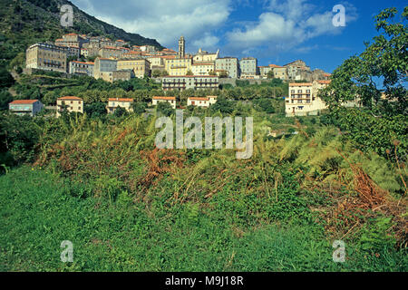 The picturesque mountain village Cervione, Corsica, France, Mediterranean sea, Europe