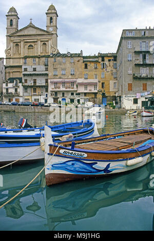 Historic old town and harbour of Bastia, Saint Jean Baptist church, Corsica, France, Mediterranean, Europe - Stock Photo