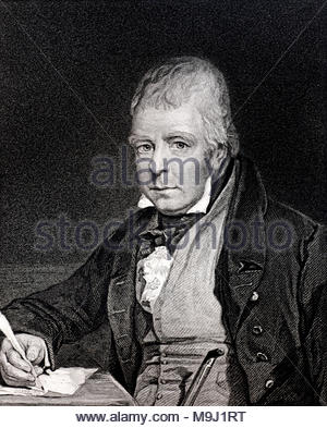 Sir Walter Scott portrait, 1st Baronet, 1771 – 1832, was a Scottish novelist and poet, antique engraving from circa 1833 - Stock Photo