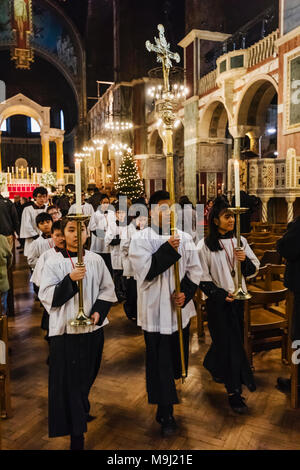 England, London, Victoria, Westminster Cathedral, End of Mass Procession - Stock Photo
