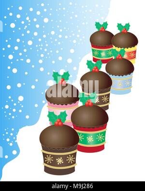 a vector illustration in eps 10 format of a group of mini chocolate Christmas buns decorated with green holly leaves and red berries - Stock Photo
