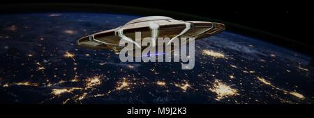 UFO, alien spaceship with in night sky with city night lights of planet Earth (3d science fiction space render banner, elements of this image are furn - Stock Photo