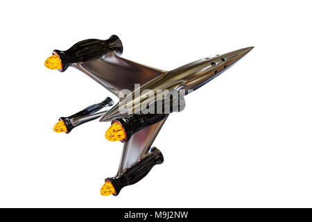 spaceship, beautiful and shiny starship fliyng into outer space (3d render isolated on white background) - Stock Photo