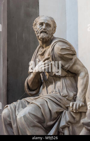Florence. Italy. Sculpture of St Cosmas, by Giovanni Angelo Montorsoli on the tomb of Lorenzo the Magnificent and his brother Giuliano de' Medici - Stock Photo