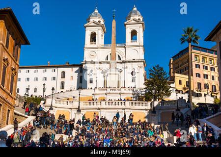 The Spanish Steps (Scalinata di Trinità dei Monti), Rome, Italy, between Piazza di Spagna and Piazza Trinità dei Monti & Trinità dei Monti church. - Stock Photo