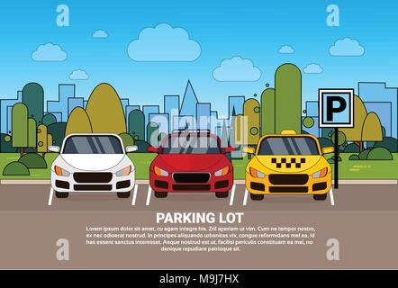 Parking Lot View With Different Cars And Taxi Over Silhouette City Background - Stock Photo