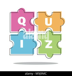Quiz thin line concept. Vector illustration - puzzle colored pieces - Stock Photo