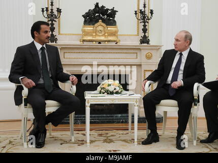 Moscow, Russia. 26th Mar, 2018. MOSCOW, RUSSIA - MARCH 26, 2018: Emir Tamim bin Hamad Al Thani (L) of Qatar and Russia's President Vladimir Putin during a meeting at the Moscow Kremlin. Mikhail Metzel/TASS Credit: ITAR-TASS News Agency/Alamy Live News - Stock Photo