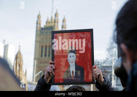 London, UK. 26th March, 2018. Members of the Jewish community protest in Parliament Square against increasing anti-semitism from within the Labour party and their leader, Jeremy Corbyn.    Credit: Chris Aubrey/Alamy Live News - Stock Photo