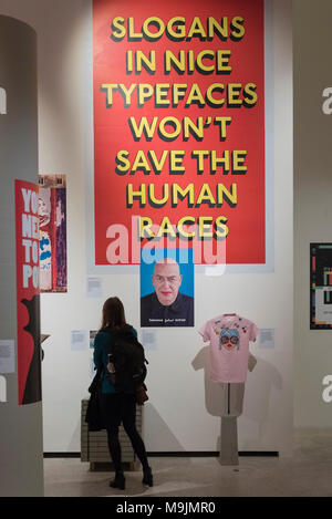 London, UK.  27 March 2018. General view. Preview of 'Hope to Nope:  Graphics and Politics 2008-18', an exhibition examining the political graphic design of a turbulent decade encompassing the 2008 financial crash, Barack Obama presidency, Brexit and Donald Trump's presidency.  The exhibition takes place at the Design Museum 28 March to 12 August 2018.  Credit: Stephen Chung / Alamy Live News - Stock Photo