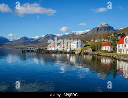 Homes, Faskrudsfjordur, Eastern Iceland - Stock Photo
