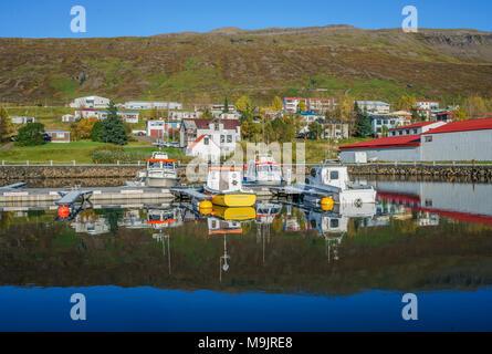 Harbor, Faskrudsfjordur, Eastern Iceland - Stock Photo