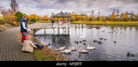 Family feeding the birds, Kopavogur, a suburb of Reykjavik, Iceland. - Stock Photo