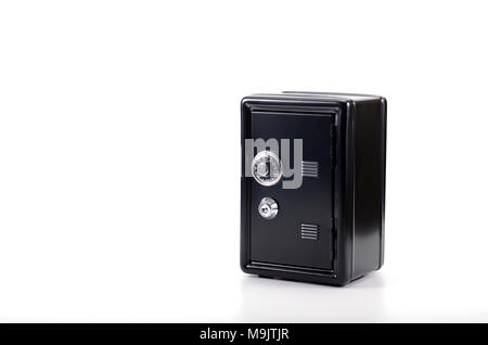 Saving your money , steel safe with money, over white background, money insurance concept - Stock Photo