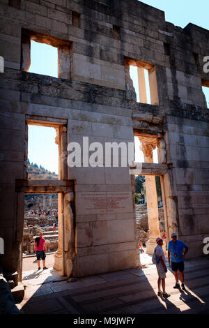 Inside the Library of Celsus in Efes. EPHESUS, TURKEY - SEPTEMBER 30, 2014 - Stock Photo