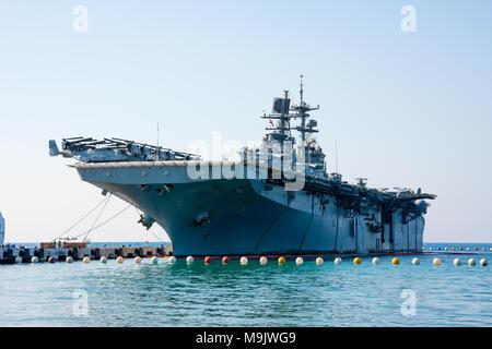 Assault ship, an aircraft carrier. Turkish multi purpose Landing Helicopter Dock. Class L-61,  Juan Carlos I - Stock Photo