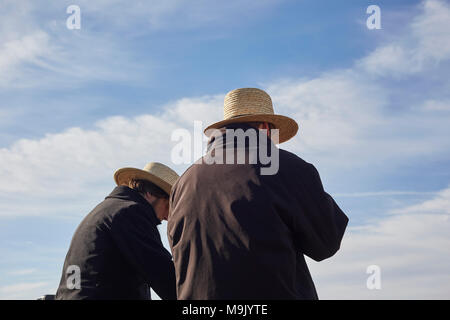 Amish auctioneers at a mud sale. Lancaster County, Pennsylvania, USA - Stock Photo