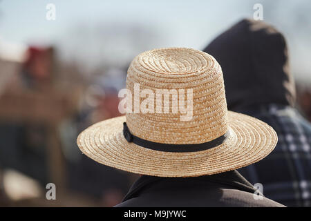 Amish men at a mud sale, Pennsylvania Dutch Country, Lancaster County, Pennsylvania, USA - Stock Photo