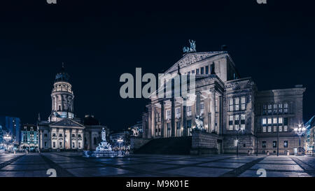 Panoramic night view of Gendarmenmarkt, Berlin. - Stock Photo