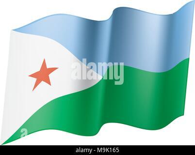 Djibouti flag, vector illustration - Stock Photo
