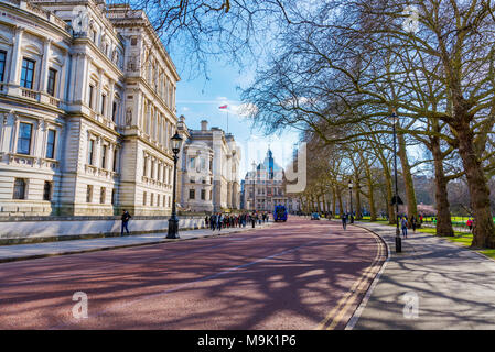 LONDON, UNITED KINGDOM - MARCH 21: This is Horse Guards Road in Westminster outside the Household Cavalry museum on March 21, 2018 in London - Stock Photo