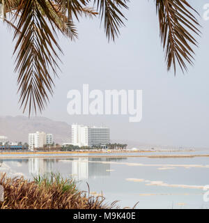 Reflection of hotel buildings in the Dead Sea water with palm - Stock Photo