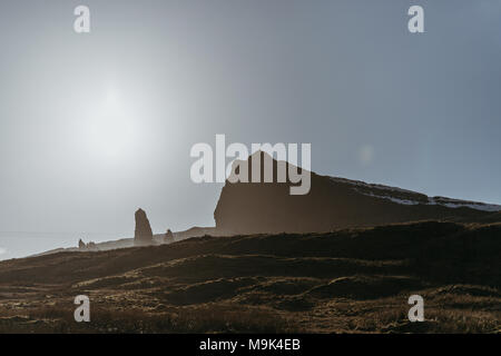 The Old Man of Storr and other rock pinnacles on Isle of Skye, Scotland, on a sunny spring day. - Stock Photo