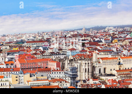 1 March 2013: Lisbon, Portugal - A view of the city from the Moorish Castle, with the Santa Justa Lift in the middle. - Stock Photo