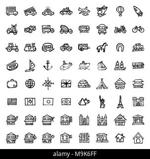 black and white hand drawn icons - TRANSPORTATION & ARCHITECTURE - Stock Photo